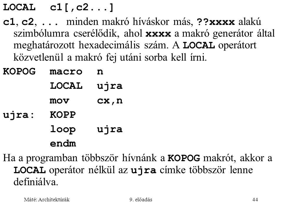 LOCAL c1[,c2...]